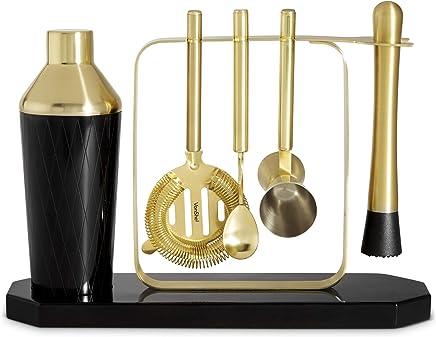 VonShef Premium Cocktail Shaker Barware Set with Display Stand,  Includes Cocktail Kit: 16oz Shaker,  Muddler,  Bar Spoon,  Hawthorne Strainer,  1oz Jigger and Recipe Book – Black and Gold