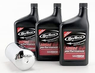 RevTech - Kit de Servicio de Cambio de Aceite para Harley-Davidson Sportster/Evolution - Filtro Magnético de Cromo