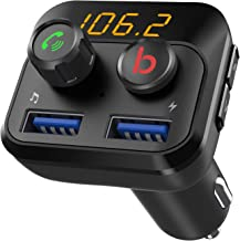 Linkstyle FM Transmitter with Bass Booster, Bluetooth 5.0 FM Transmitter Wireless Radio Car Adapter Receiver, Dual USB Charging Ports, Hands Free Calling, Support USB Flash Drive, TF Card