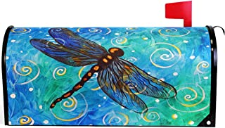 Wamika Spring Gold Blue Dragonfly Mailbox Cover Magnetic Standard Size, Animal Floral Oil Letter Post Box Cover Wrap Decoration Welcome Home Garden Outdoor 21