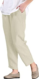 7227af157712a4 Mordenmiss Women's Linen Ankle Pants Capris Cropped Tapered Trousers with  Pockets