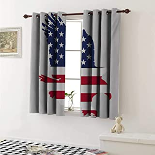 shenglv Eagle Blackout Draperies for Bedroom Stars and Stripes on a Bald Eagle American Way of Life Bird Symbol Curtains Kitchen Valance W72 x L63 Inch Navy Blue Dark Coral Beige