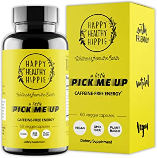 Natural Energy Supplement – Happy Healthy Hippie Plant Based Caffeine Free Energy Pills for Metabolism, Mental Power & Hap...