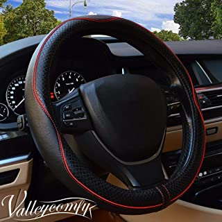 Valleycomfy 14.25 inch Auto Car Steering Wheel Covers Black with Red Lines- Genuine Leather for Prius Civic.