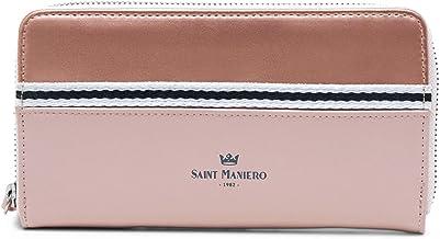 Saint Maniero Design Geldbeutel Damen für Alltag, Uni und Job – 2 Schein- & 12 Kartenfächer sowie 3 große Steckfächer z.B. Mobil – Münzfach mit Reißverschluss – Recyceltes Material Pink-Rosegold