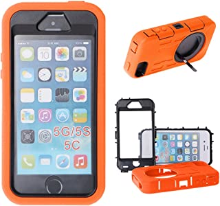 Xtra-Funky Case Compatible with Apple iPhone 5 / 5S, Heavy Duty Dual Layer Silicon and Plastic Shock Absorbing Ultimate Protective Cover with Built in Stand and Protective Screen Layer - Orange