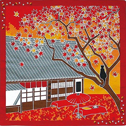 Kyoto tradicional Furoshiki (japonés de regalo gamuza) con un gato tama y hojas de otoño Maeda Senko