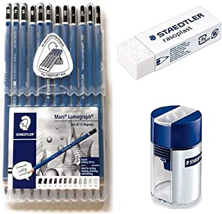 Wooden Lead Pencil By Staedtler Mars Lumograph - Pack of 12 Degrees in Practical Plastic Storage Box with Staedter Tub Sharpener and Rasoplast Eraser