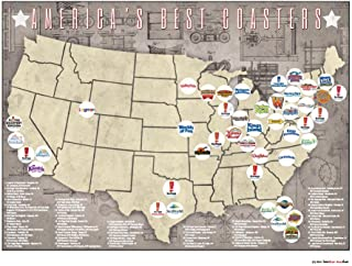 Americas Best Roller Coasters Print-Only Location Map, 24x18