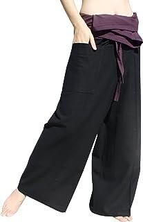 Raan Pah Muang RaanPahMuang Brand Thick Cotton Two Tone Thailand Fisherman Pants