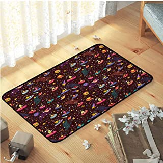 Decor Mats, Decorative Design Bathroom Rug for Living Room,Children Playroom | Space Cosmos Design with Shooting Stars and Colorful Polka Dots Alien Spacecrafts Cartoon Multicolor W35 x L59