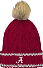 NCAA Alabama Crimson Tide Youth Girls Core Furry Pom Cable Knit Hat, Youth Girls One Size, Victory Red