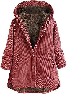 TIANMI Women Button Hoodie Coat Ladies Vintage Winter Warm Plus Size Tops Fashion Casual Plus Velvet Pocket Outwear