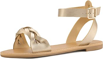 DREAM PAIRS Summer Women Casual Open Toes Ankle Fashion Flat Sandals