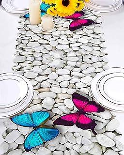 Else - Camino de Mesa Moderno con diseño de Mariposas y Piedras de guijarros en Color Gris y Blanco, para Cocina, Comedor, Mantel
