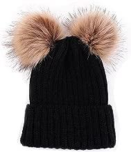 HMILYDYK Fashion Winter Knitted Beanie Bobble Hats Stylish Double Faux Fur Pom Poms Warm Ski Beret Cap
