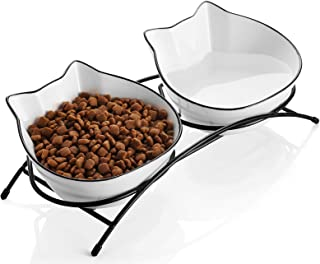 SAMSLE Cat Bowls, 12 Ounces Porcelain Cat Bowl with Stand, Cat Food Water Bowls, Pet Dishes for Small Cat, Double Bowls wi...