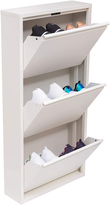 Mabel Home Modern 3 & 4 Drawer Shoe Cabinet, 3-4Tier Shoe Rack Storage Organizer, (White) (3 & 4Tier) (3 Tier)