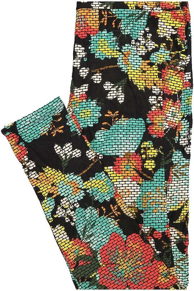 Lularoe One Size OS Subway Tile Geometric Floral Black Teal Orange Yellow Leggings (OS fits Adults 2-10)