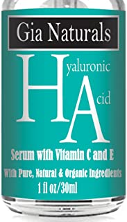 Pure, Natural, Organic (HA) Hyaluronic Acid Serum Cream. Superior Plant Sourced. Plus Vitamin C and E. Anti-Aging, Boosts ...