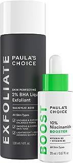 Paula's Choice Skin Perfecting 2% BHA Salicylic Acid Liquid Exfoliant & 10% Niacinamide Serum Booster Duo, for Blackheads,...