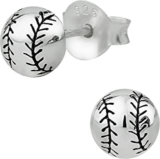 Hypoallergenic Sterling Silver Baseball or Softball Stud Earrings for Kids (Nickel Free)