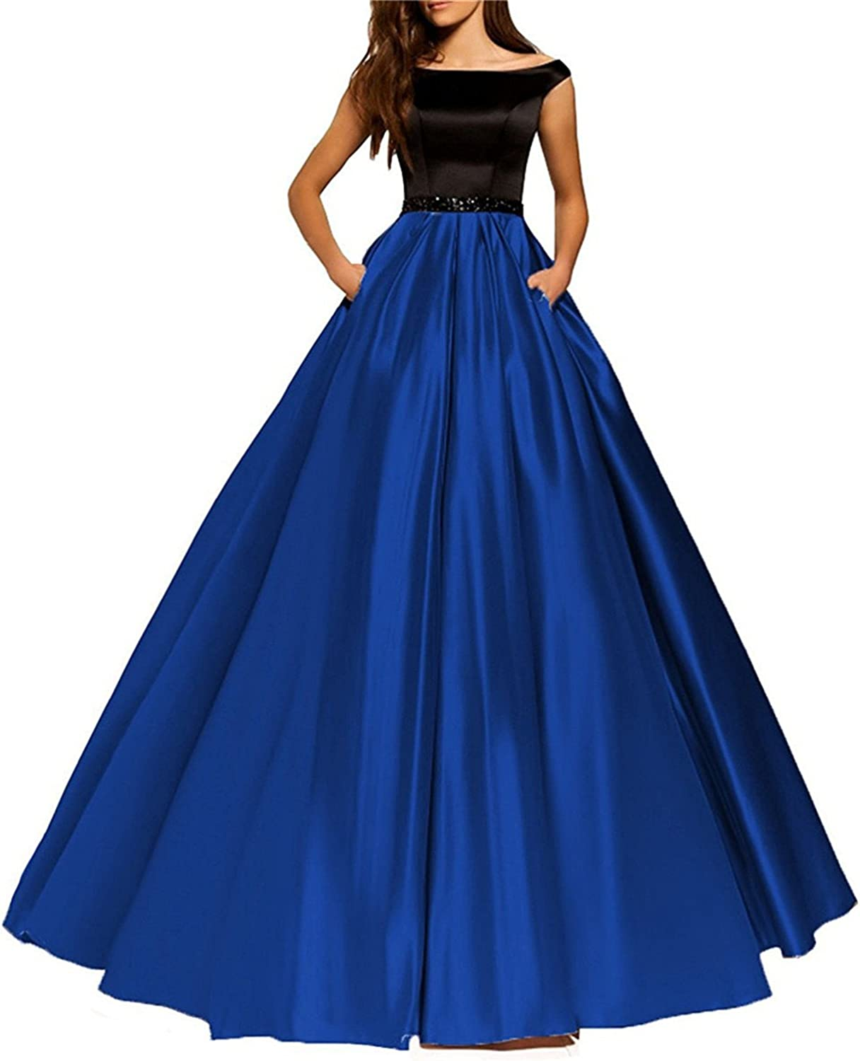 Homdor Prom Dresses With Pockets ALine Strapless Evening Gowns For Women Satin