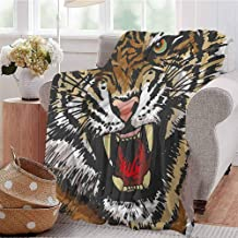 Luoiaax Tiger Comfortable Large Blanket Digital Drawing of Large Feline Sketch Style Angry Big Cat with Intense Eyes Print Microfiber Blanket Bed Sofa or Travel W91 x L60 Inch Multicolor