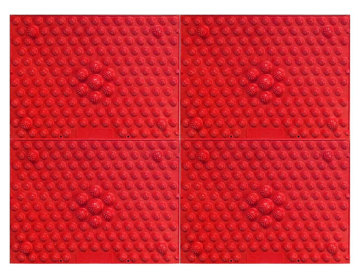 モデレータ散歩レイプ縦横自由自在足踏みマット4枚セット (赤)