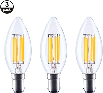 aselight C356W regulable LED luz de las velas bombilla ámbar glass2700K 600lúmenes B15tornillo C35 3unidades luz blanca cálida c35b-b15-amber reemplazar 60W incandescente bombillas de vela