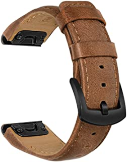 TRUMiRR Watchband for Fenix 6/5 / 5 Plus, 22mm Quick Release Easy Fit Watch Band Genuine Cowhide Leather Strap Sports Wris...