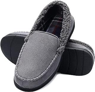 Men's Comfort Moccasin Slippers Memory Foam House Shoes Anti-Slip Sole Indoor Outdoor