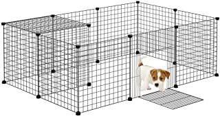 12 Panels Pet Playpen DIY Fence Cage Metal Wire Exercise Pen Pet Kennel Crate Indoor For Small Animals Bunnies Rabbits Puppies (Black)