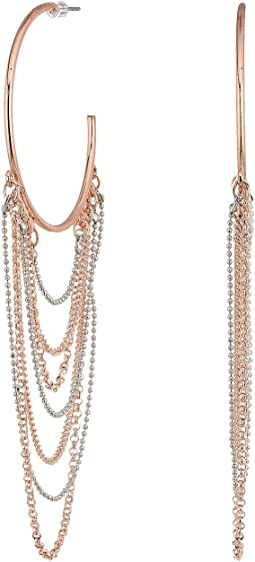 GUESS - Hoop with Draped Chain Earrings