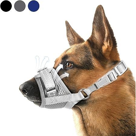 Dog Muzzle,Nylon Soft Dog Muzzle for Large Dog,Breathable Mesh Dog Muzzle for Barking Biting and Chewing,Reflective Large Dog Muzzle with Adjustable Buckle,No Bark Muzzle for Small Medium Large Dogs