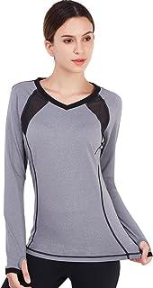Matymats Women's Long Sleeve Workout Tee Tops Yoga Running Gym Sports T-Shirt Fast Dry