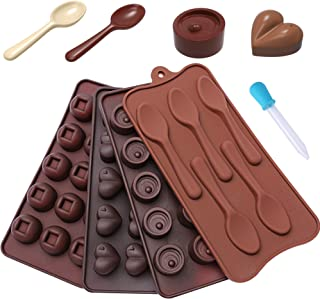 Chocolate Candy Mold Silicone Trays + Recipes eBook - Nonstick, BPA-Free and FD Approved - Make Fun Chocolate Shapes, Gummy Candies, Hard Candy and Ice (Hearts, Round Shapes & Spoons - 4 Trays)
