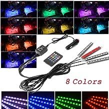 Tira de luz para interior de coche con 8 Colores y 36 LEDs, Brillo Neón Decoración Ambiente con Control Remoto de Sonido