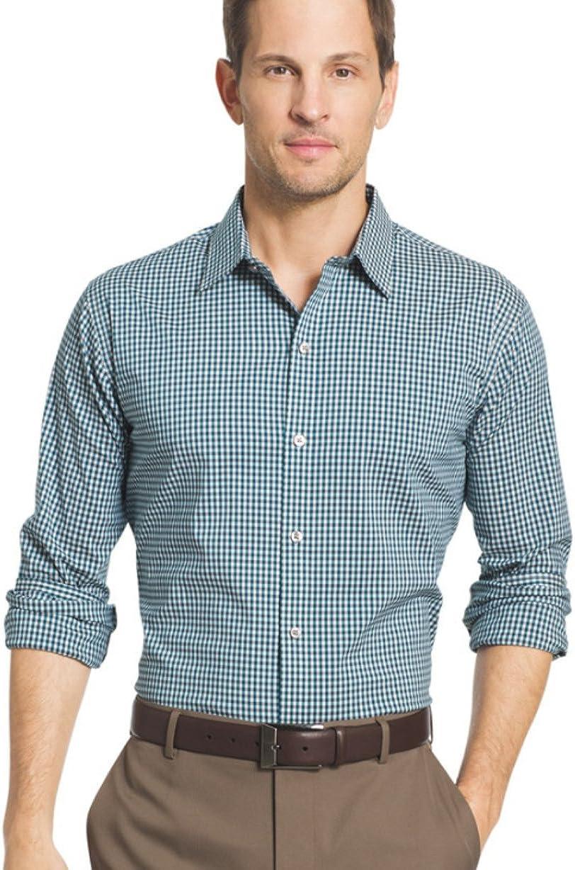 Van Heusen Men's Flex Slim-Fit Stretch Plaid Button-Down Shirt (Small, Turquoise Low Tide)