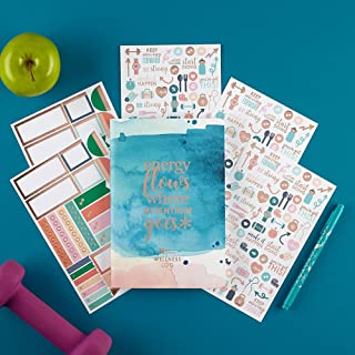 Erin Condren Designer Petite Planner Wellness Log Bundle - Includes Petite Planner and Illustrative, Functional, and Cute Stickers for Additional Customization