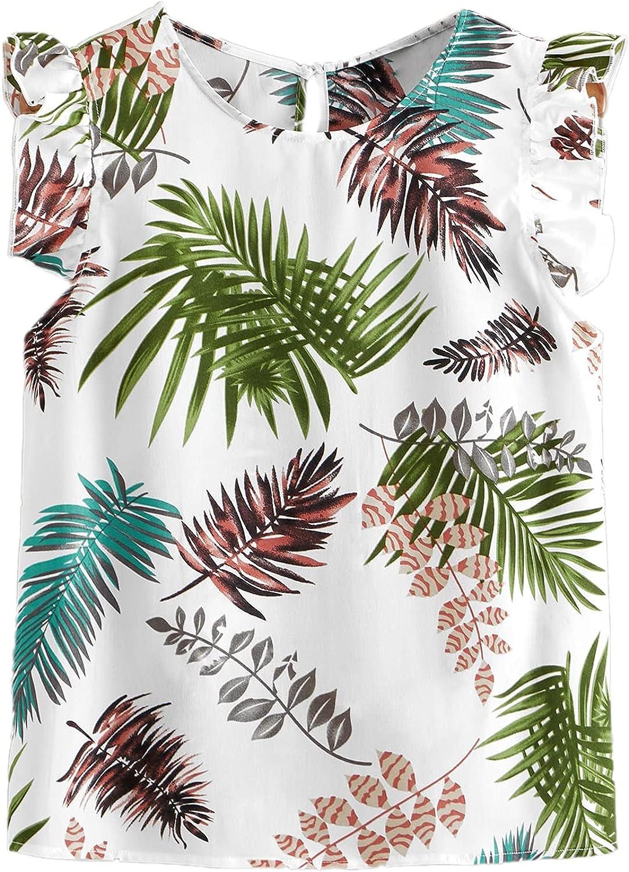 Floerns Women's Plus Size Boho Tropical Sleeveless Ruffle Tank Blouse Top