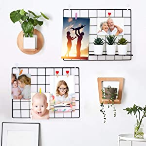 Muf Grid Wall Panels, Wall Storage Organizer Metal Grid for Photo Display, Memo Board, DIY Wall Decor Office Décor Room Décor, Hanging Photo Grid Picture Board for Memory Keep, Set of 2, 15.7