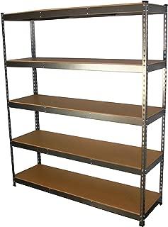 "MonsterRax 18""x60""x72"" Modular Garage Shelving – Hammertone Steel Storage Rack – 300 Pounds Per Shelf – 5-Tier Shelves/Work Bench (18x60x72)"