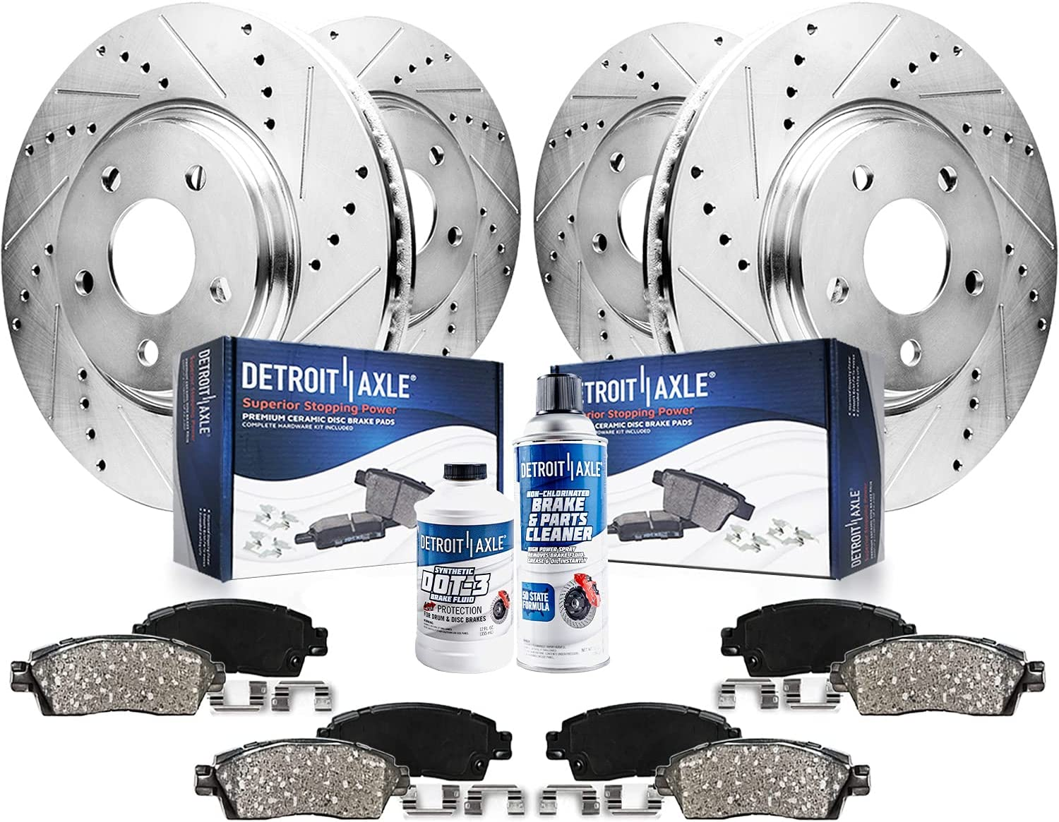 Detroit Axle safety - Front Rear Drilled Rot Slotted Disc service Brake Kit