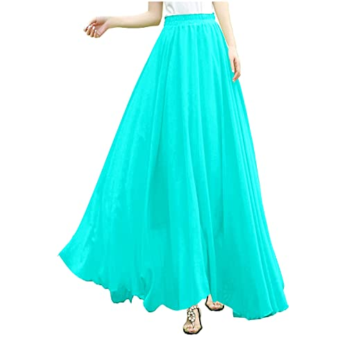 922c6794038f v28 Women Full/Ankle Length Elastic Pleated Retro Maxi Chiffon Long Skirt