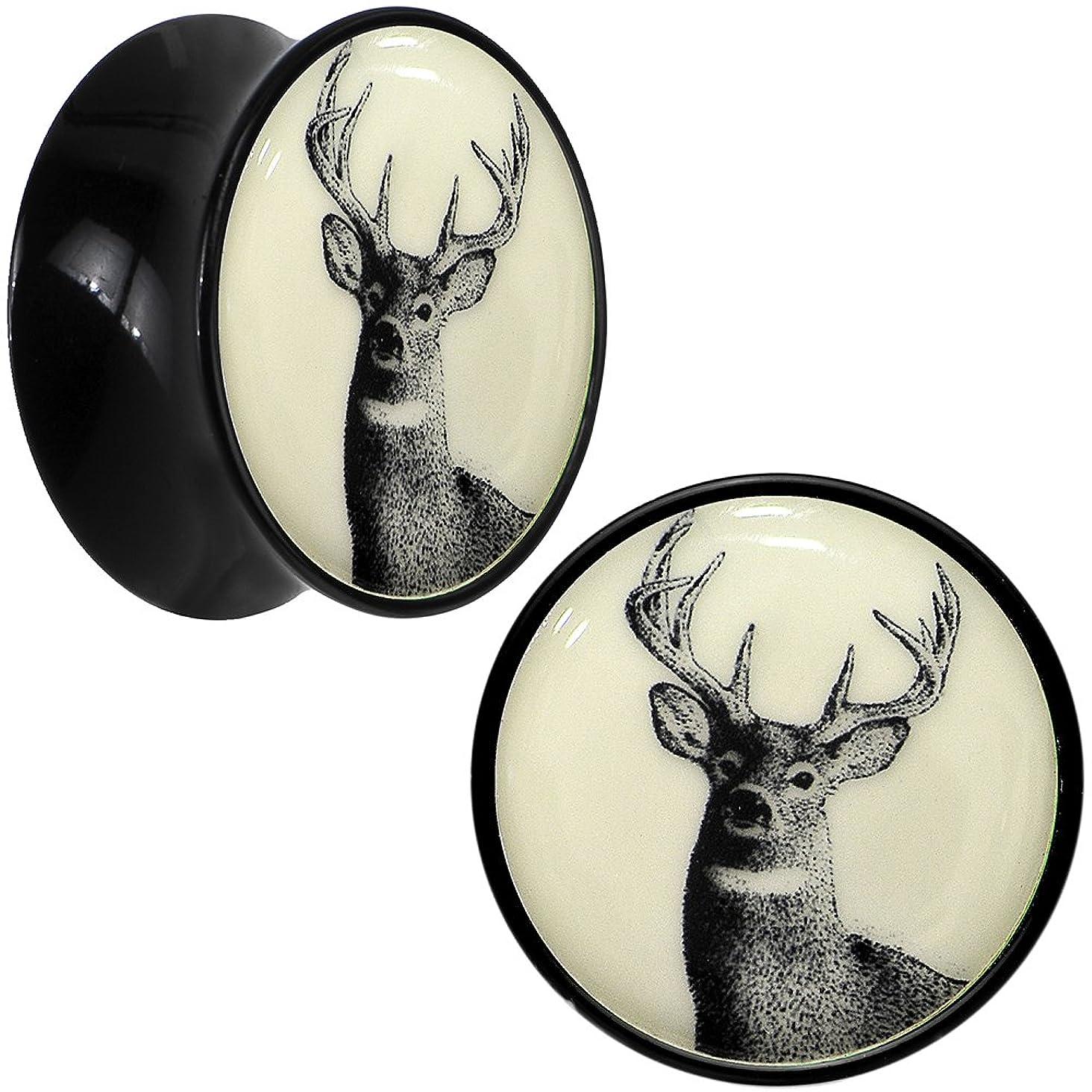 Body Candy Black Acrylic Buck Deer Glow in The Dark Saddle Ear Gauge Plug Pair 20mm