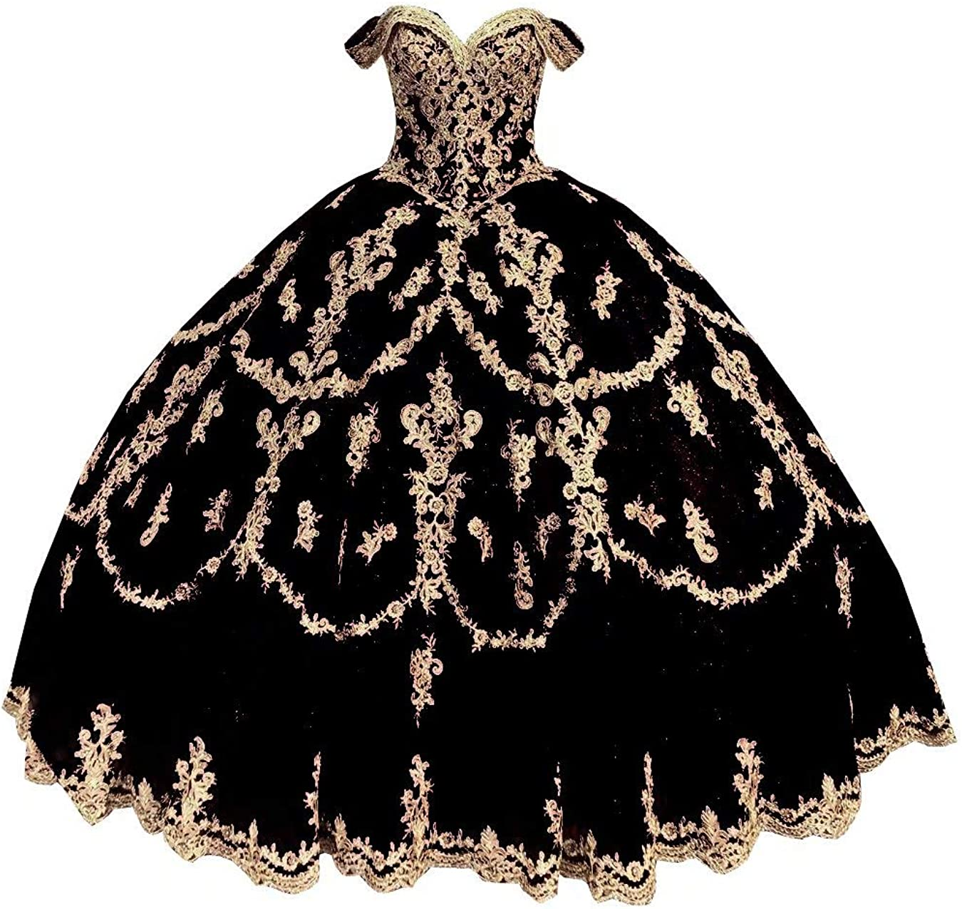Gold Embroidered Patterned Glitter Tulle Off Shoulders A line Prom Quinceanera Dresses Mexican 2021 Charro with Sleeves