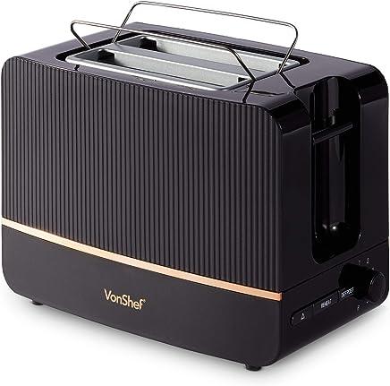 VonShef Automatik Toaster für 2 Scheiben 870W – 6 Bräunungsstufen, Entnehmbares Krümelfach, Brotschlitz 32 mm – Auftau-, Aufwärm-, Abbruchfunktion – Schwarz & Kupfer