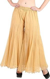 Shararat Women's Palazzo Pants Glitter Net Loose Wide Leg Sharara Trousers
