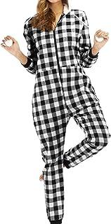 MAI Mono de pijama a cuadros de algodón con capucha con cordón y dobladillo de una pieza para mujer